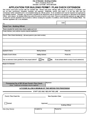 Plan-Permit Extensions Form 2009 - City of Glendale