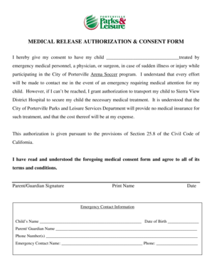 Medical Consent Form - City of Porterville