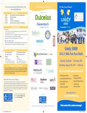Fillable Online Undy 5000 5k 1 Mile Fun Run Walk Colon Cancer Alliance Fax Email Print Pdffiller