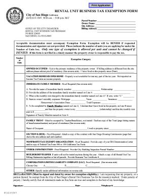 Fillable Online sandiego Rental unit business tax exemption form ...