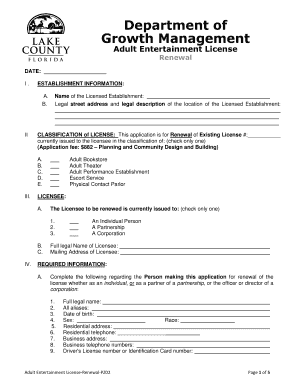 Entertainment license Adult