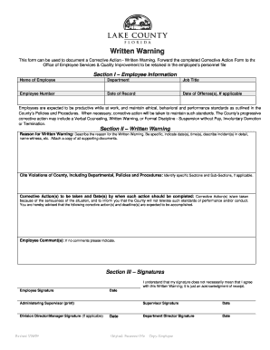 Corrective Action Form  Written Warning   Lake County   Lakecountyfl