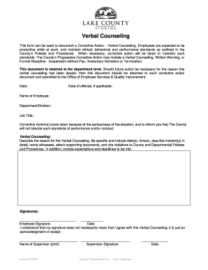 Corrective Action Form - Verbal Counseling - Lake County - lakecountyfl