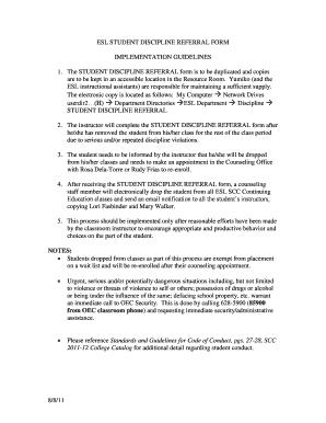fillable online sccollege student discipline referral form