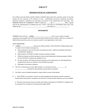 MEMORANDUM OF AGREEMENT This Document Is A Memo Of Agreement Between Two  Parties  Draft Agreement Between Two Parties