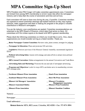 committee sign up sheet template