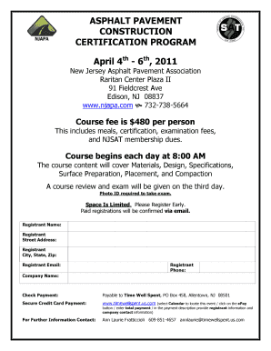 Fillable Online Asphalt Pavement Construction Certification