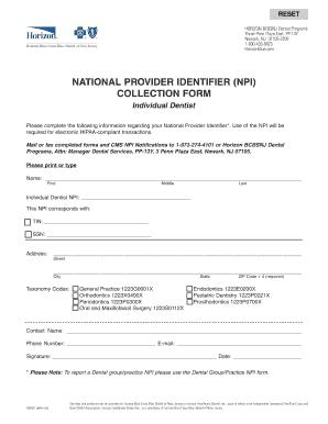 Fillable Online HORIZON BCBSNJ Dental Programs Fax Email Print