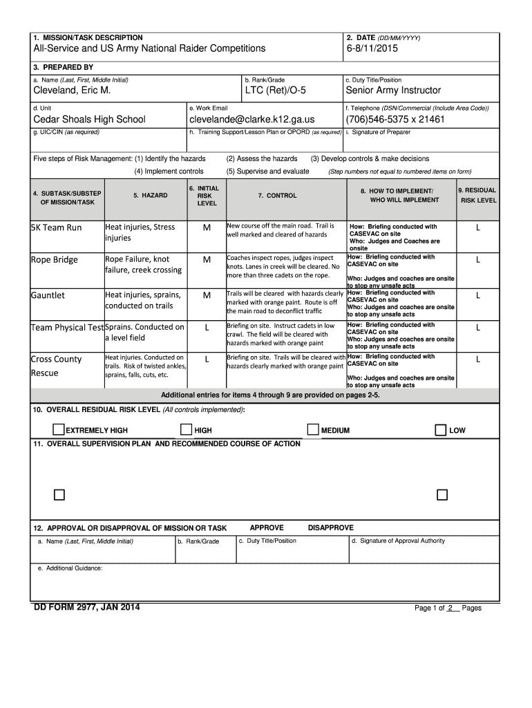 Fillable Online DD Form 2977 Deliberate Risk Assessment ...
