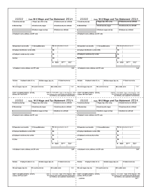 Fillable Online 22222 22222 Form W-2 Wage and Tax Statement 2014 ...