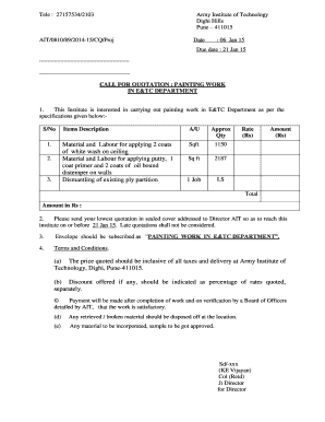 call for quotation painting work in etc department rate