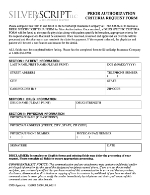 silverscript prior authorization form Submit silverscript prior authorization PDF Forms and Document ...