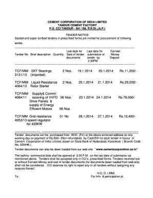 Fillable Online Brief description Quantity Sale of tender submission