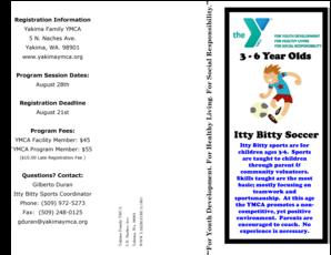 Fillable Online Yakimaymca Itty Bitty Soccer Yakima