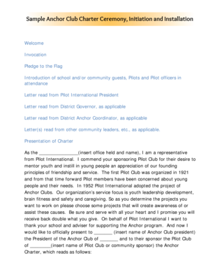 Sample welcome letter forms and templates fillable printable initiation ceremony anchoring form expocarfo Image collections