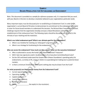 SAMPLE BOARD RESOLUTION FOR ESTABLISHING AN ENDOWMENT   Bgnoforgb