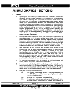 Fillable Online AS-BUILT DRAWINGS SECTION 501 - jeacom Fax