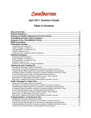 fillable online chicagoacs april 2011 teachers guide table of rh pdffiller com Chemistry Matters Magazine High School Chemistry Articles