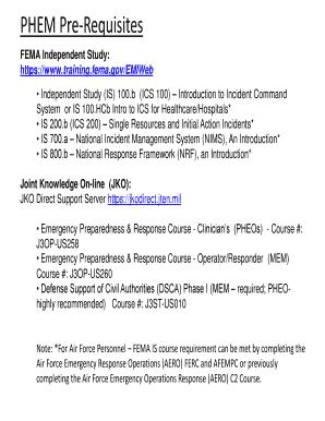 Fillable Online PHEM Pre-Requisites Fax Email Print - PDFfiller