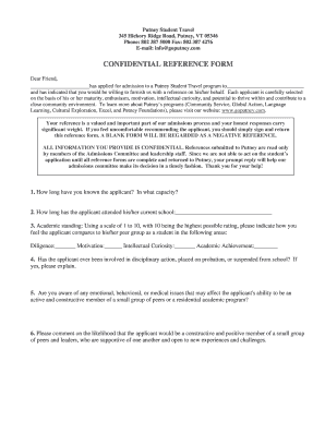 Teacher Reference forms - Putney Student Travel