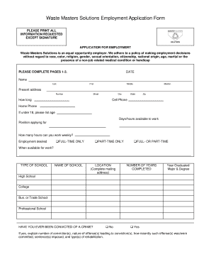 Waste Masters Solutions Employment Application Form