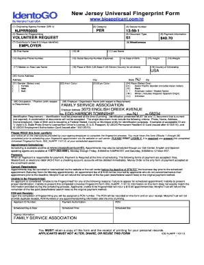Fillable Online fsasj IdentoGO New Jersey Universal Fingerprint ...