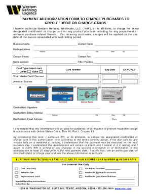 PAYMENT AUTHORIZATION FORM TO CHARGE PURCHASES TO CREDIT