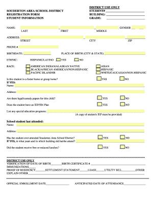 District Use Only Souderton Area School Student Registration Form Building