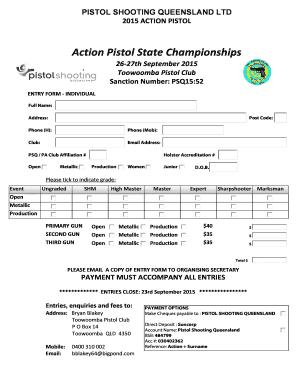 Action Pistol State Championships - pistolshootingqldorg