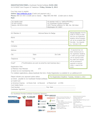 REGISTRATION FORM Southeast Florida/Caribbean 81351304 ULI &amp - netforum uli