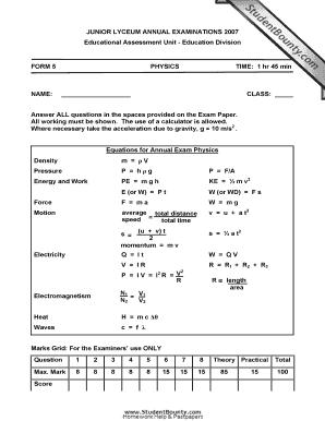 Fillable Online JUNIOR LYCEUM ANNUAL EXAMINATIONS 2007