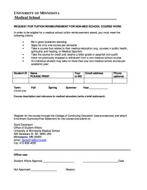 Umn Academic Calendar.Fillable Online Meded Umn Non Med Tuition Reimbursement Form Doc