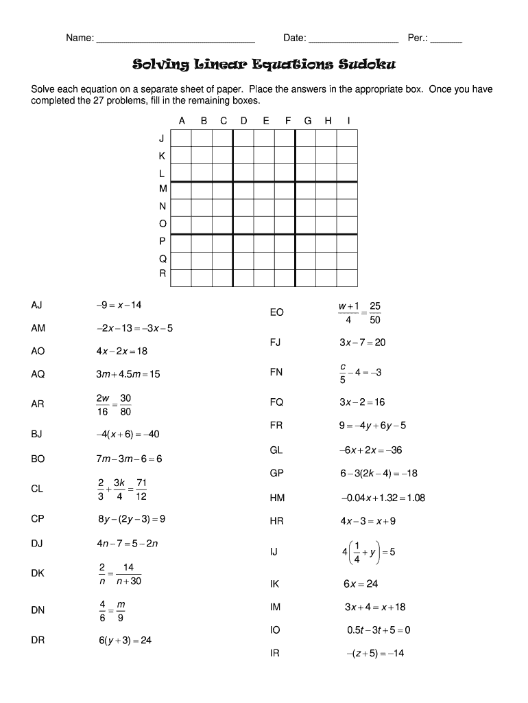 Solving Linear Equations Sudoku Answers - Fill Online, Printable With Regard To Solving Linear Equations Worksheet Pdf