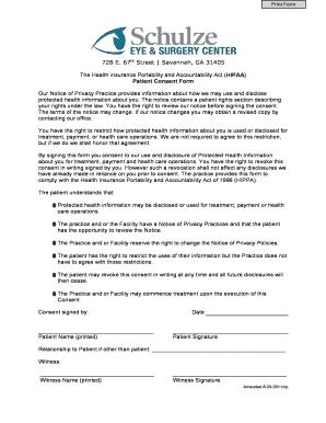 Hipaa patient consent form fill out online documents for local 728 e 67 street savannah ga 31405 schulze eye amp surgery altavistaventures Gallery