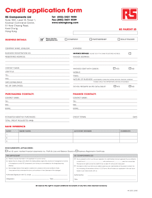 personal credit application form free