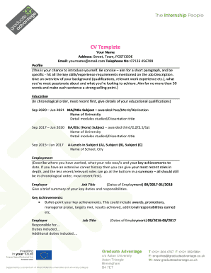 CV Template - Graduate Advantage Home - graduateadvantage co