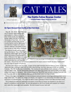 fillable online cat tales exotic feline rescue center fax email
