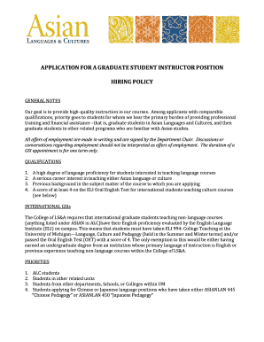 APPLICATION FOR A GRADUATE STUDENT INSTRUCTOR POSITION - lsa umich