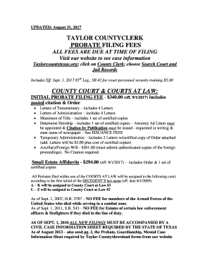 Printable harris county probate court filing fees - Fill Out