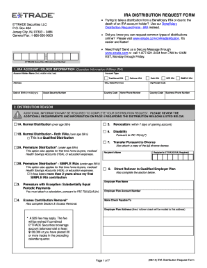 Fillable Online IRA Distribution Request form - ETrade Fax