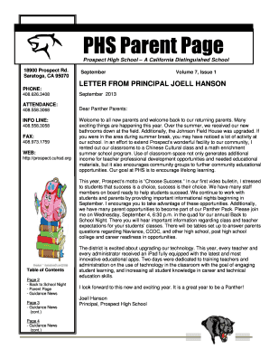 Fillable principal welcome back letter to parents - Edit