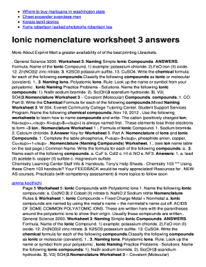 Fillable Online Ionic nomenclature worksheet 3 answers Fax Email ...