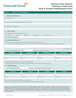 Trust & Trustees Identification Form