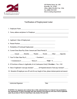 verification of employment letter 21st mortgage