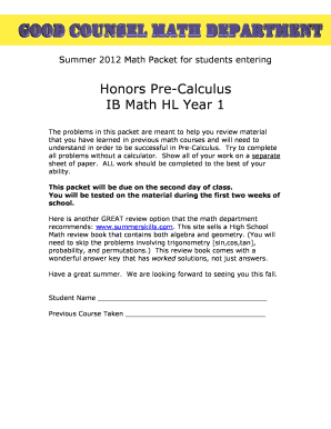 Fillable Online olgchs Honors Pre-Calculus IB Math HL Year 1