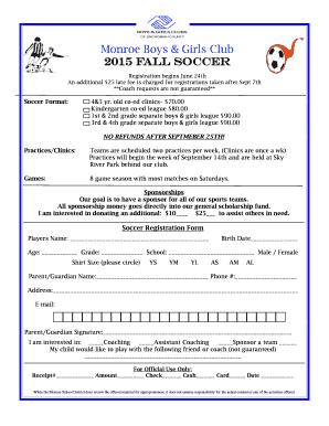 Monroe Boys Girls Club 2015 Fall Soccer