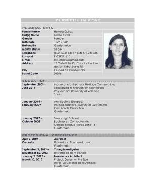 Fillable Online Snis Curriculum Vitae Ene 2014 Eng Tabular Form