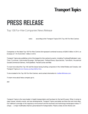 Press release - Transport Topics Fill Online, Printable
