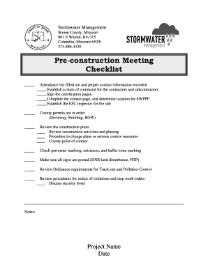Pre construction meeting checklist template