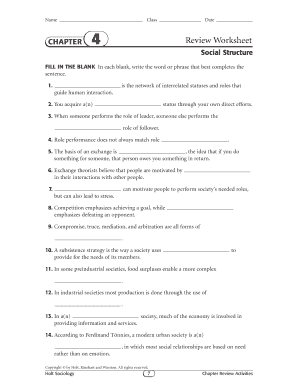 Fillable online name chapter class date 4 review worksheet social fill online ibookread PDF